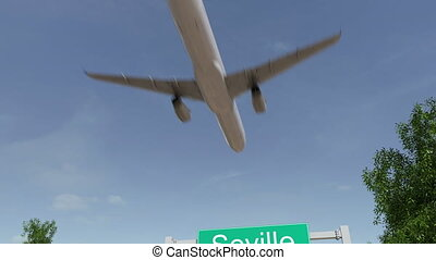 Airplane arriving to Seville airport. Travelling to Spain conceptual 4K animation