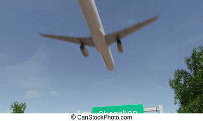 Airplane arriving to Shenzhen airport. Travelling to China conceptual 4K animation