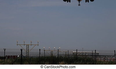 airplane at docking temrinal, barcelona airport