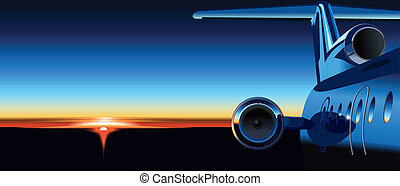 airplane at sunrise. Available EPS-8 vector format separated...