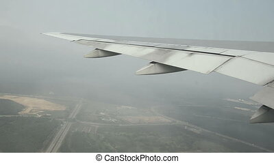 airplane at takeoff. view trough window with some shaking