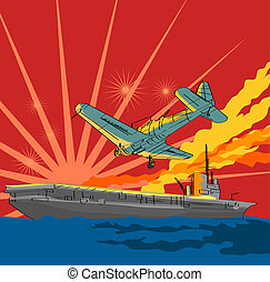 Airplane Attacking Ship