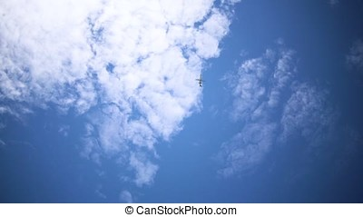 Airplane aviation airport contrail the clouds. Footage....