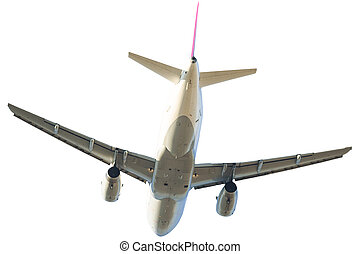 airplane back on white - passenger commercial jet airplane...
