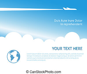 Airplane background for business trip or vacation journey...
