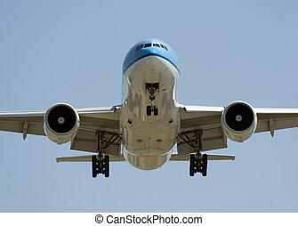 Airplane before landing