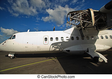 Airplane Being Repaired at Cairns Airport Australia