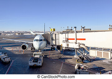 Airplane Being Serviced at Airport Gate - A passenger plane...
