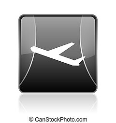 airplane black square web glossy icon