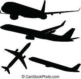 airplane black vector silhouettes