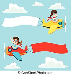 Airplane Blank Banner - Little pilot kids on airplane with...