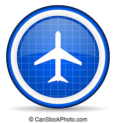 airplane blue glossy icon on white background