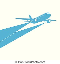 Airplane blue silhouette on white background.