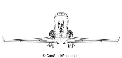 Airplane blueprint. Vector