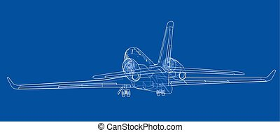 Airplane blueprint. Vector