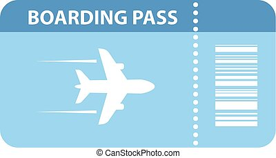 Airplane boarding pass icon on white background