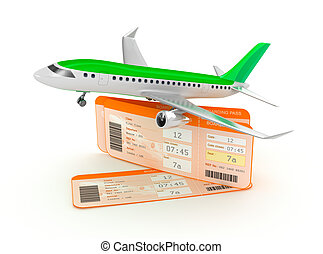 Airplane boarding pass tickets conc