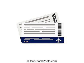 Airplane boarding pass tickets. Travel concept isolated on white background.