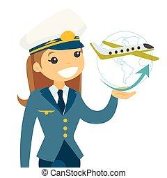 Airplane captain in pilot hat.