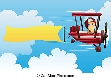 Airplane carrying banner - A vector illustration of a pilot...
