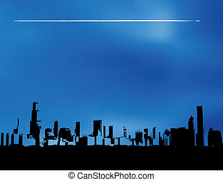 Airplane city skyline