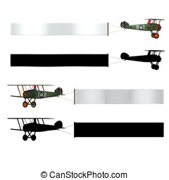 Airplane Clip Art - Double wing Airplane pulling a...