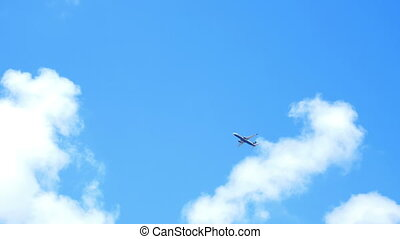 Airplane cloudy sky - Passenger airplane on landing approach...