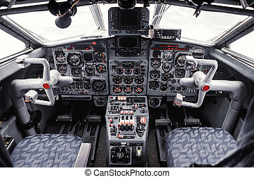 airplane cockpit - the instrument panel in the cockpit of a...