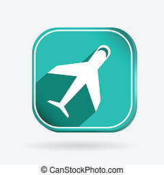airplane, Color square icon