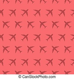 Airplane Commercial Aviation Seamless Silhouette Pattern