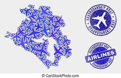 Airplane Composition Vector Krasnodarskiy Kray Map and ...