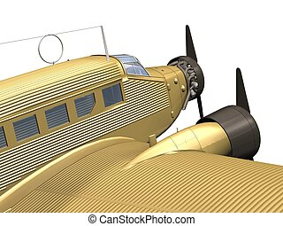 airplane - computer image,gold plane 3D, isolated white...