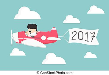 airplane Concept of New Year 2017