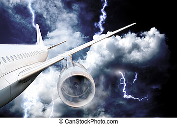 airplane crash in a storm with lightning concept. accident ...