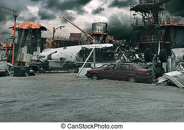 Airplane crash in the city, wreckage fuselage