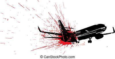 Passenger air plane crash vector illustration