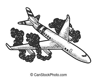 Airplane crash sketch engraving vector illustration. T-shirt apparel print design. Scratch board style imitation. Hand drawn image.