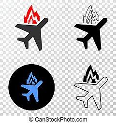 Airplane Crash Vector EPS Icon with Contour Version