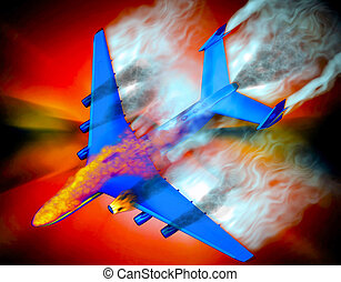 Airplane crash with fire flames and smoke