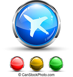 Airplane Cristal Glossy Button with light reflection and...