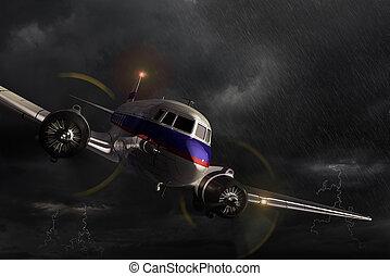 Airplane Dakota in the storm. - Airplane Douglas DC-3, ...