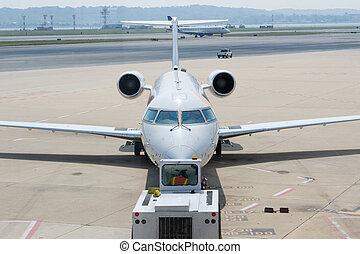 Airplane Departing Gate