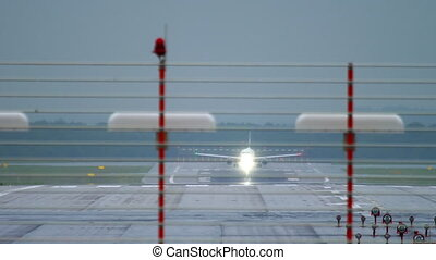 Airplane departure at rain - Airplane accelerate before...