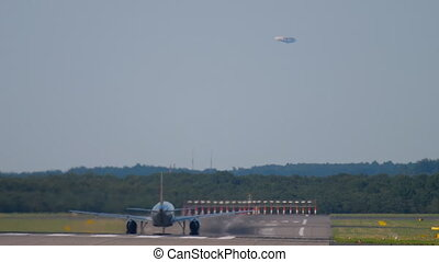 Jet airplane departure. Dusseldorf airport