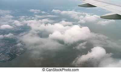 Airplane descending before landing - Airplane descending,...