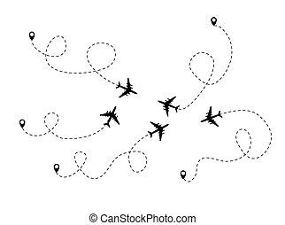 Airplane dotted flight background. Illustration