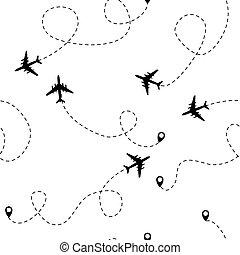 Airplane dotted flight seamless pattern background. Illustration