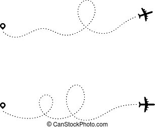 Airplane dotted path. Dash travel line route point aircraft path flight map trip plan airline trace. Plain path vector