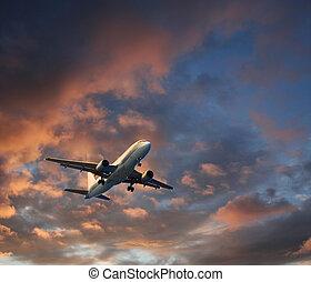 Airplane dramatic cloudscape takeoff