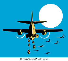 Airplane dropping bombs